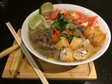 Indonesian Lemongrass Beef Noodle Soup, served in a 32 oz container £5.50 per portion